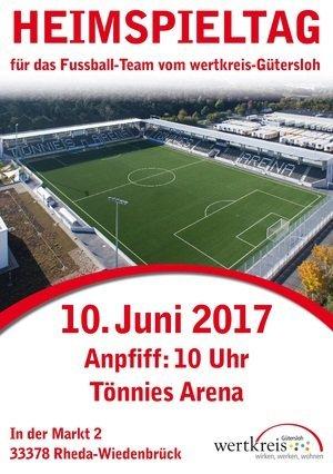 10.06.: Heimspieltag für das Fußball Team von wertkreis Gütersloh in der Tönnies Arena